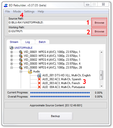 How to copy a Blu-ray disc using BD Rebuilder