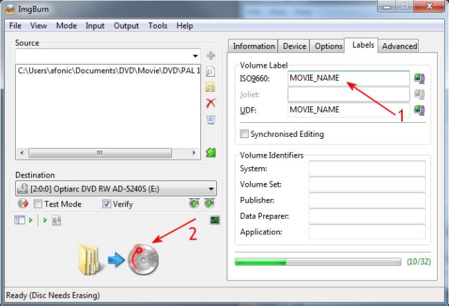 How to burn a DVD-Video disc using ImgBurn
